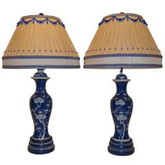 Pair of Blue and White Lamps with Dressmaker Shades
