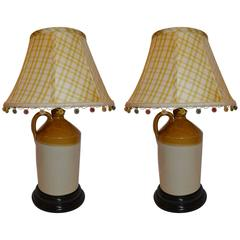 Pair of Stoneware Jugs Converted to Lamps