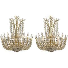 Pair of Elegant Czechoslovakian Crystal and Brass Chandelier