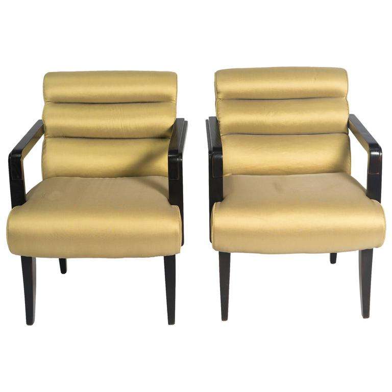 Pair of Swaim Deco Style Armchairs For Sale at 1stdibs