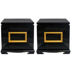 Pair of James Mont Style Chunky End Tables