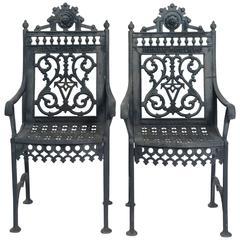 19th Century Pair of Iron Cemetery Chairs