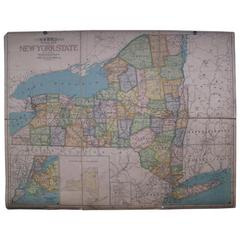 20th Century Canvas Map of New York State