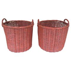 Pair of Large Woven Baskets in Red Paint