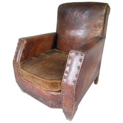 1940s French Leather Club Chair