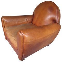 Monumental Art Deco Leather Club Chair
