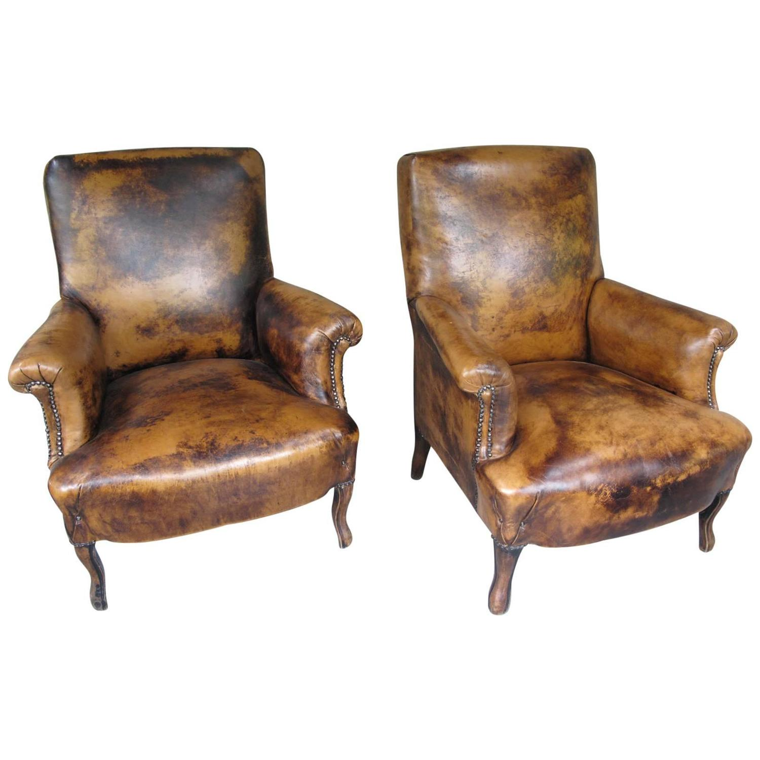 Pair Of Early 20th Century French Leather Chairs At 1stdibs