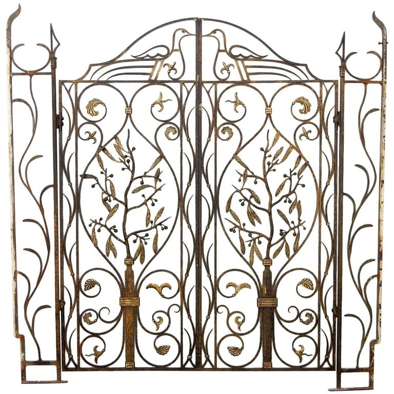 French Art Nouveau Architectural Iron and Bronze Gate in manner of Edgar Brandt For Sale
