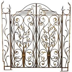 French Art Nouveau Architectural Iron and Bronze Gate in manner of Edgar Brandt