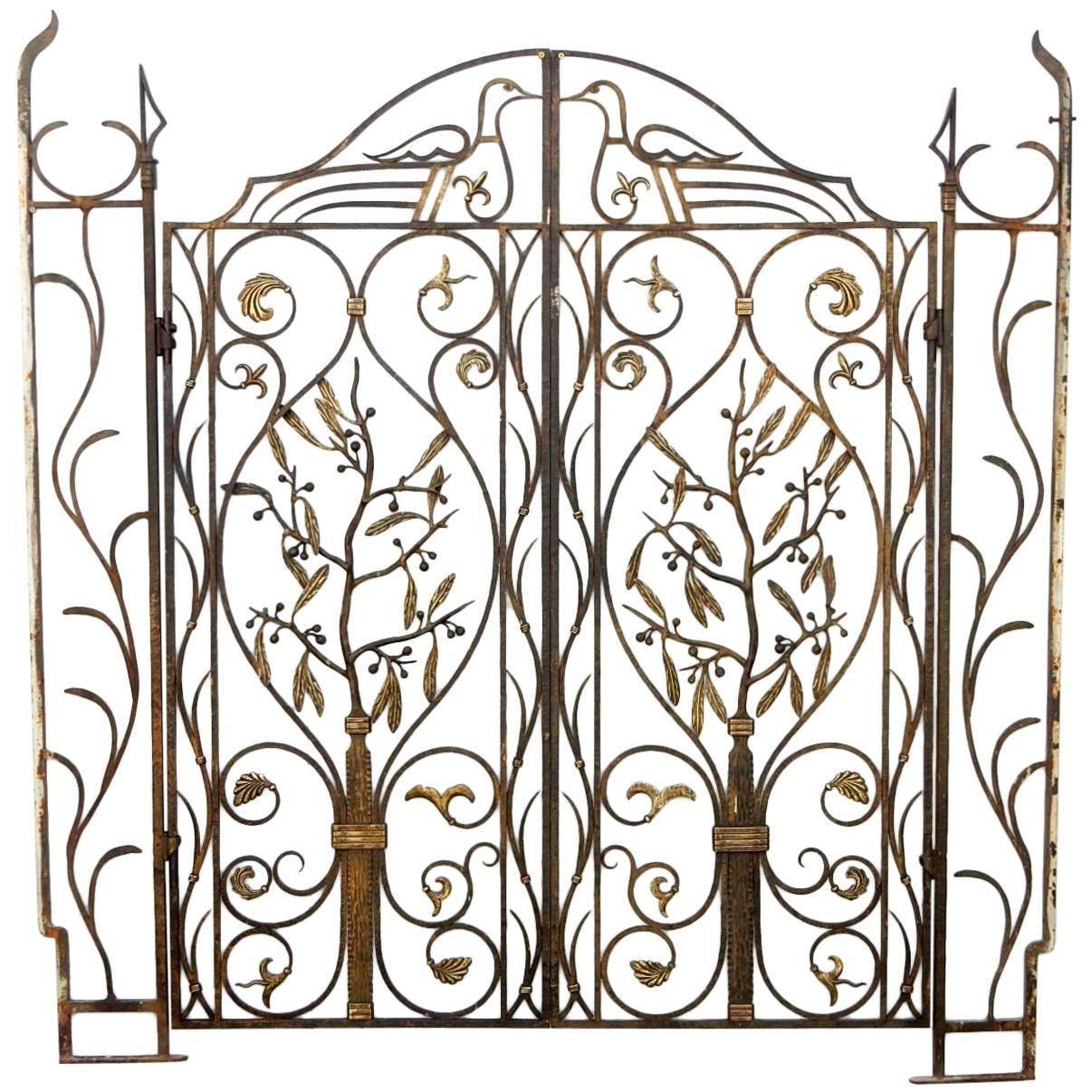 French Art Nouveau Architectural Iron And Bronze Gate In