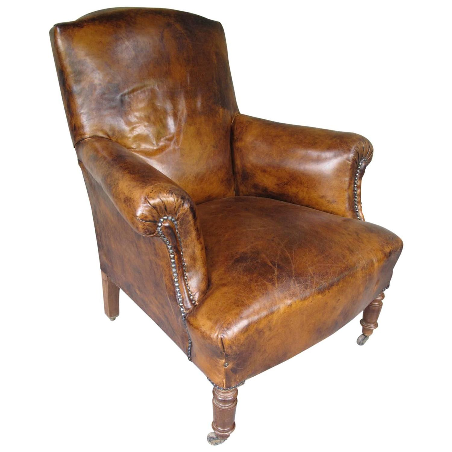 Antique French Armchair In Leather At 1stdibs