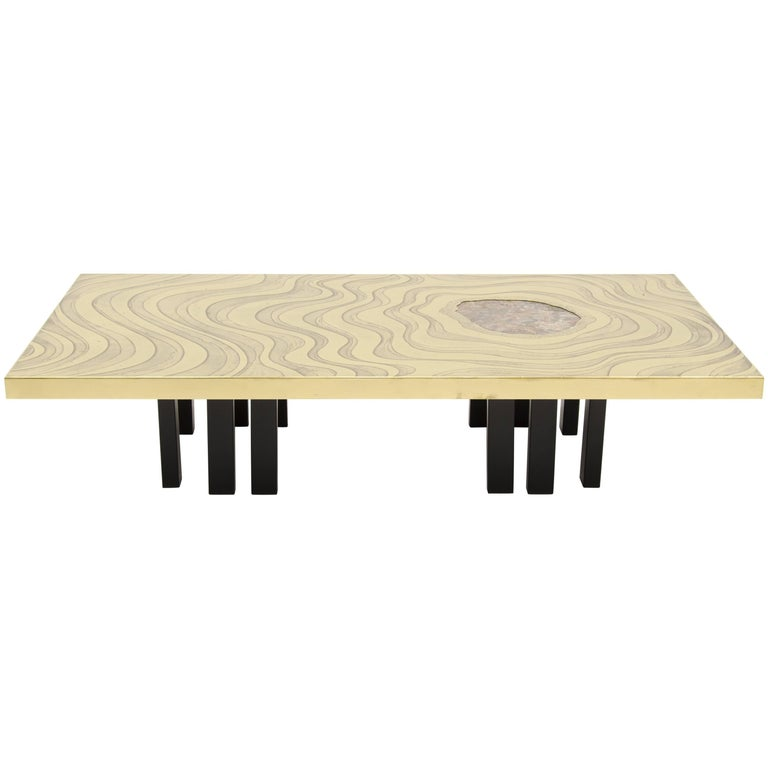Amazing Large Etched Brass Coffee Table by Willy Daro For Sale