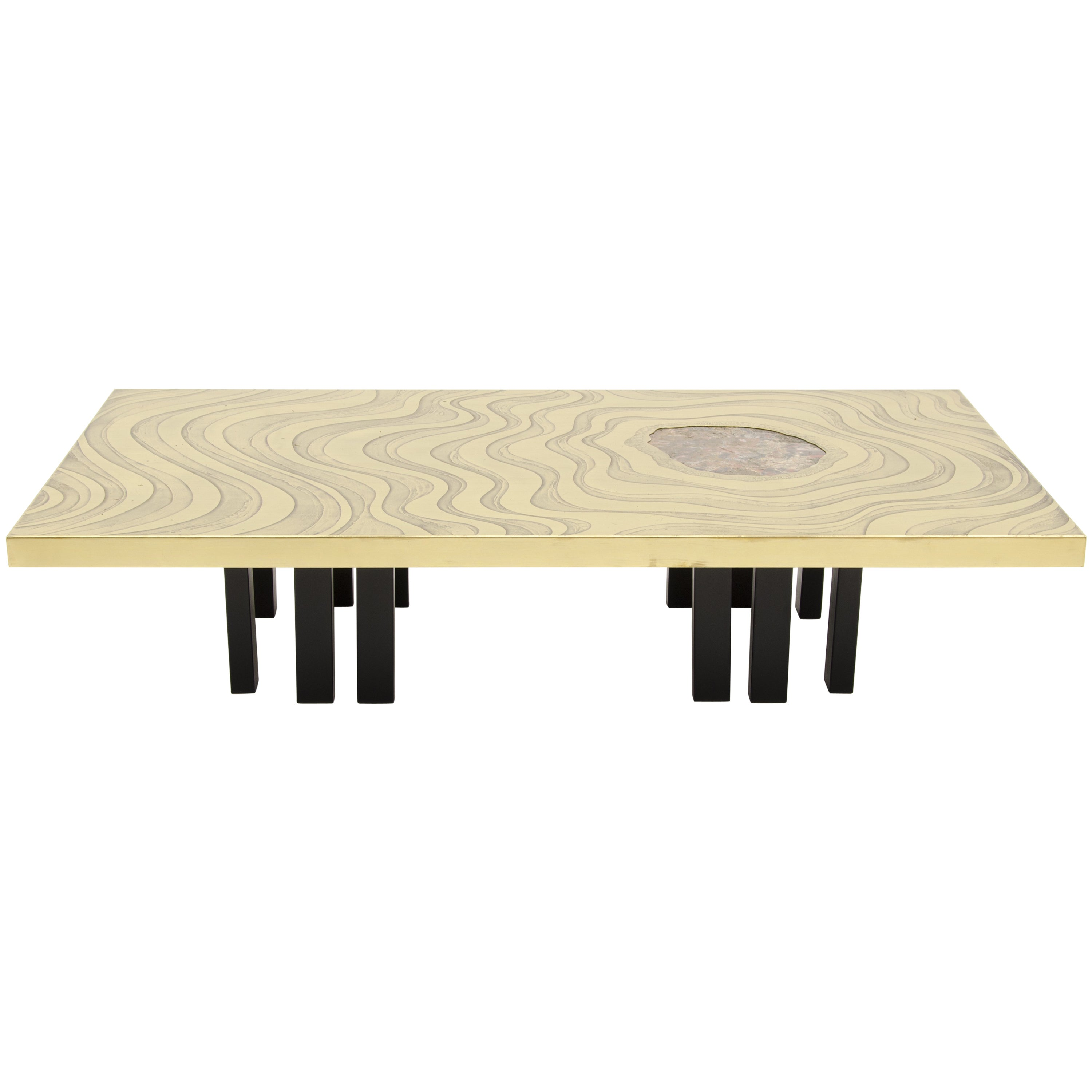 Amazing Large Etched Brass Coffee Table by Willy Daro