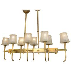 "1930s Murano ""Frozen"" Glass and Bronze Structure Chandelier by Barovier"