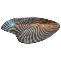 "Roger Capron Vallauris Large Abstract Free-Form Ceramic ""Waves"" Dish, circa 1965"