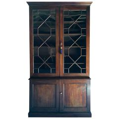 Antique Bookcase Victorian Mahogany Display Cabinet Two-Door Large