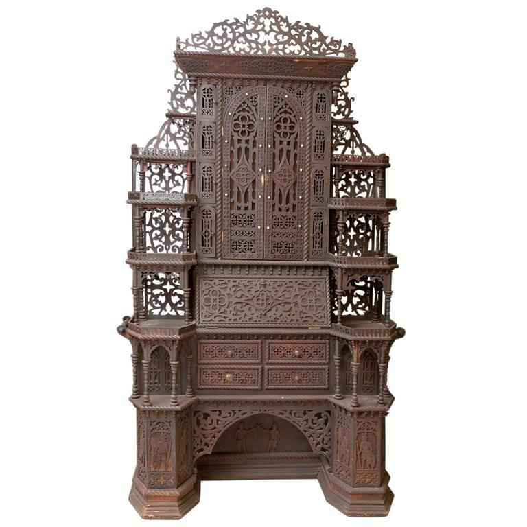 antique fretwork folk art eterger secretary or tag re with dressing table for sale at 1stdibs. Black Bedroom Furniture Sets. Home Design Ideas