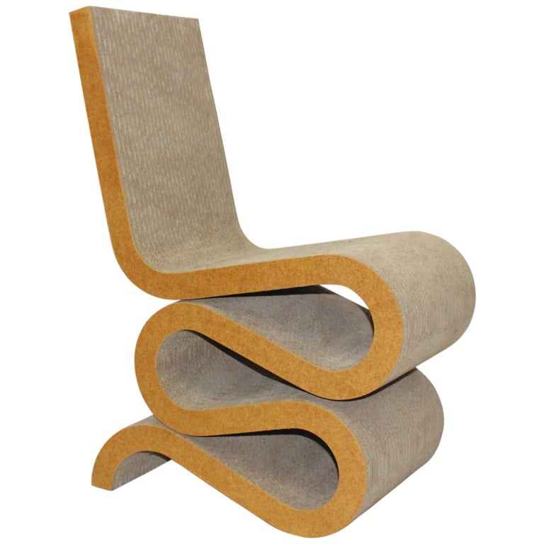 Mid Century Modern Vintage Cardboard Wiggle Side Chair by Frank O. Gehry, 1972 For Sale
