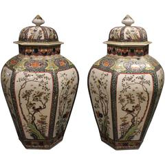 Pair of Striking Antique Chinese Famille Verte 'Green' Vases and Covers