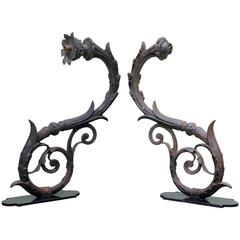19th Century Pair of Cast Iron Wall Arms in Art Nouveau Style