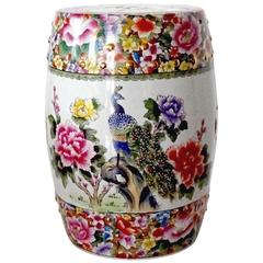 Colorful Chinese Porcelain Garden Seat with Peacock