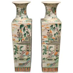 Pair of Antique Square Shaped Chinese Famille Verte Green Vases