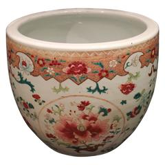 Pretty Antique Chinese Famille Rose 'Pink' Jardinière Planter/ Fish Bowl