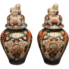 Pair of Antique Japanese Imari Vases and Covers Decorated in Blue and Orange