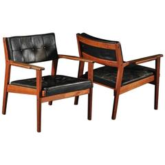 "Pair of Swedish Teak and Leather Armchairs by Ingemar Thillmark ""Axamo"""