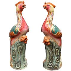 Pair of Unusual Antique Chinese Famille Rose Pink Porcelain Phoenixes