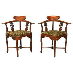 Pair of Exceptional Chinese Rosewood Corner Chairs
