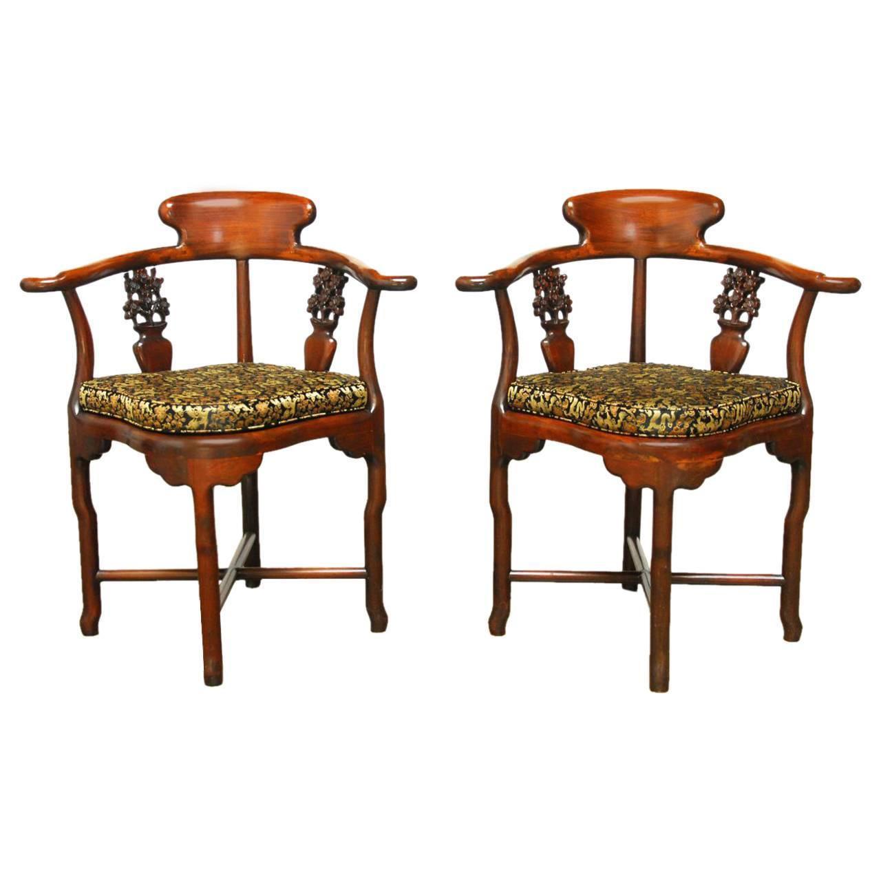 This pair of large burmese arm chairs is no longer available - Pair Of Exceptional Chinese Rosewood Corner Chairs