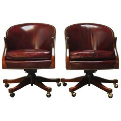 Pair of Baker Leather Barrel Back Office Chairs