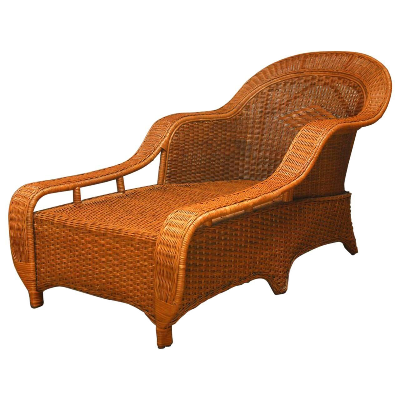 sc 1 st  1stDibs & French Style Wicker Chaise Longue by Palecek For Sale at 1stdibs