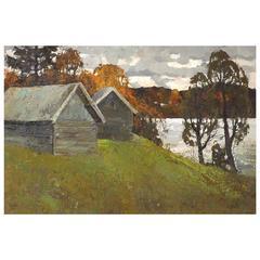 'On the Lake' Soviet Era Painting by Alexander Kremer