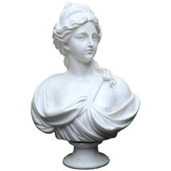 Mid-20th Century White Marble Woman's Bust