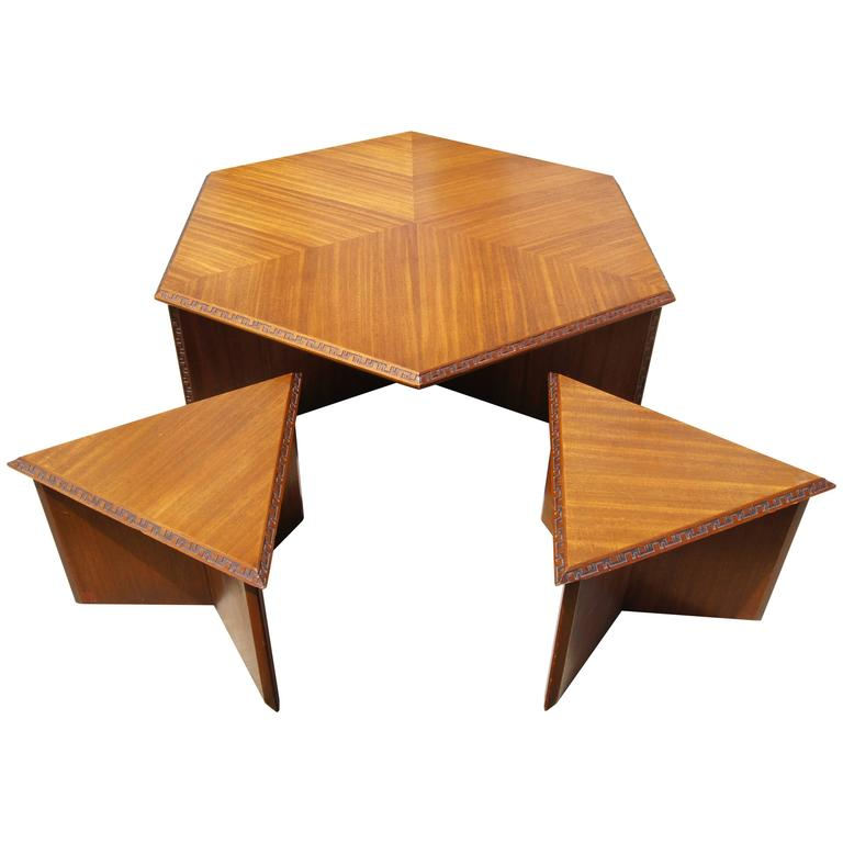 Hexagonal Coffee Table Set By Frank Lloyd Wright For