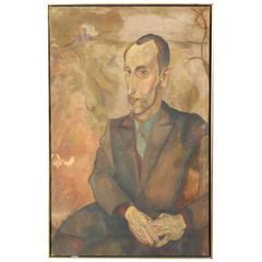 Large Oil on Canvas Portrait of a Man