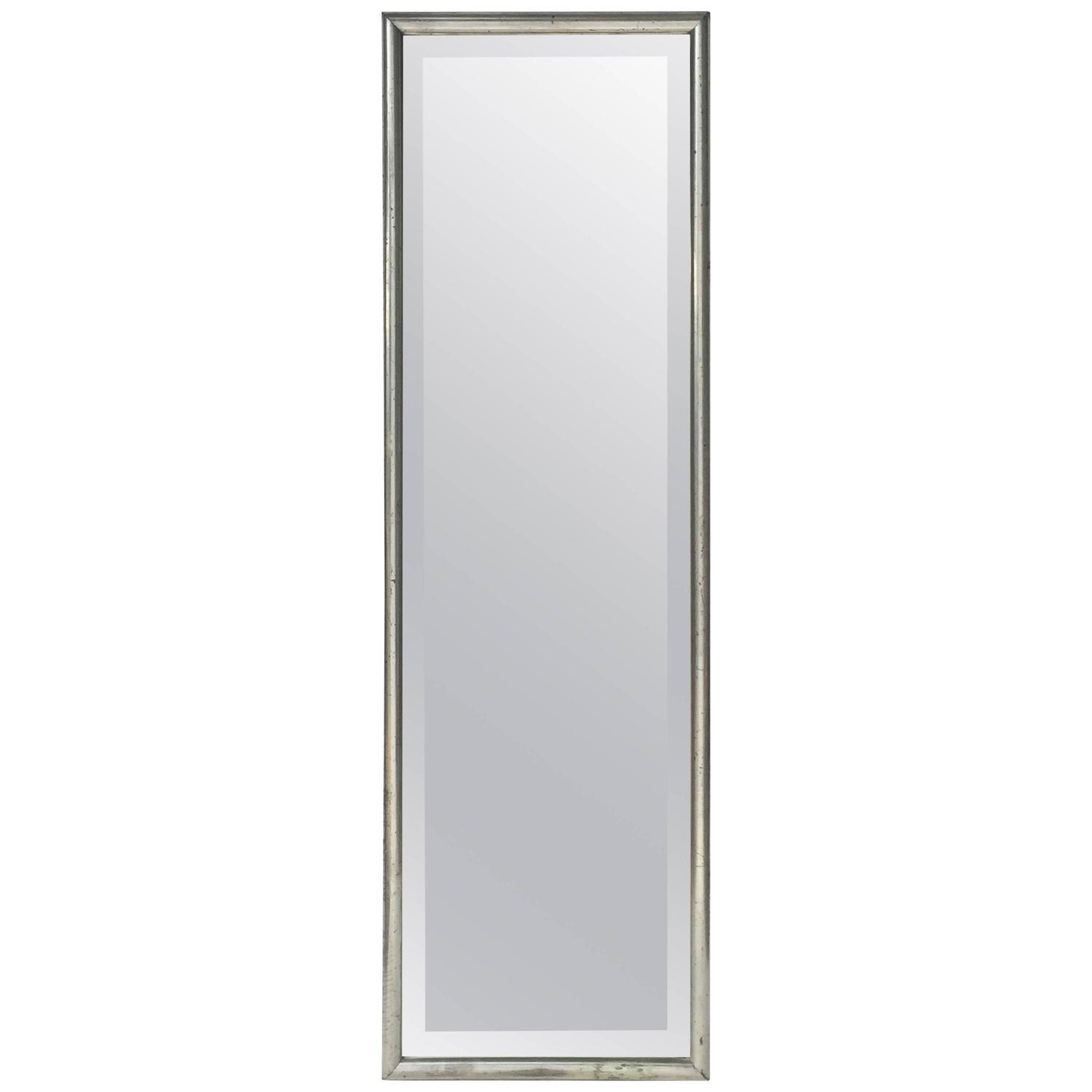 tall french silver gilt beveled mirror h 57 1 2 x w 18 1