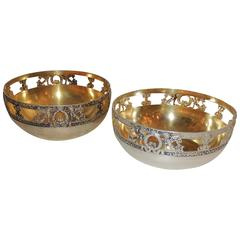 Wonderful Pair of Hessenberg 800 Sterling Silver Gold Wash Pierced Empire Bowls