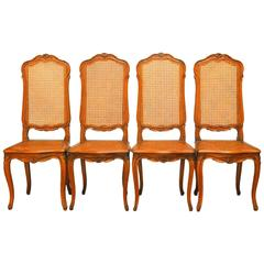 Set of Four French Louis XV Style Cane Dining Chairs