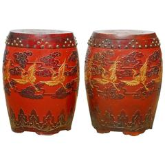 Pair of Qing Dynasty Giltwood and Lacquer Stools