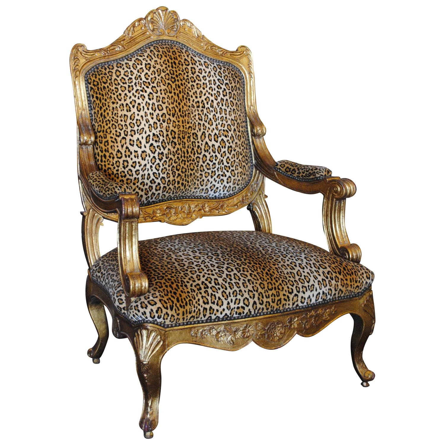 Louis Xv Style Giltwood Armchair In Leopard Print For Sale At 1stdibs