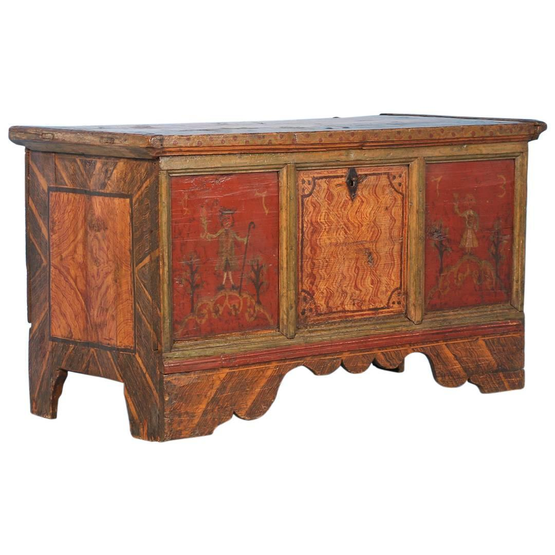 Antique original painted trunk with original red paint - How to paint an old trunk ...