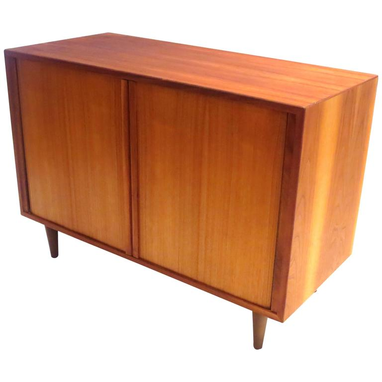 danish modern tambour door small record media cabinet
