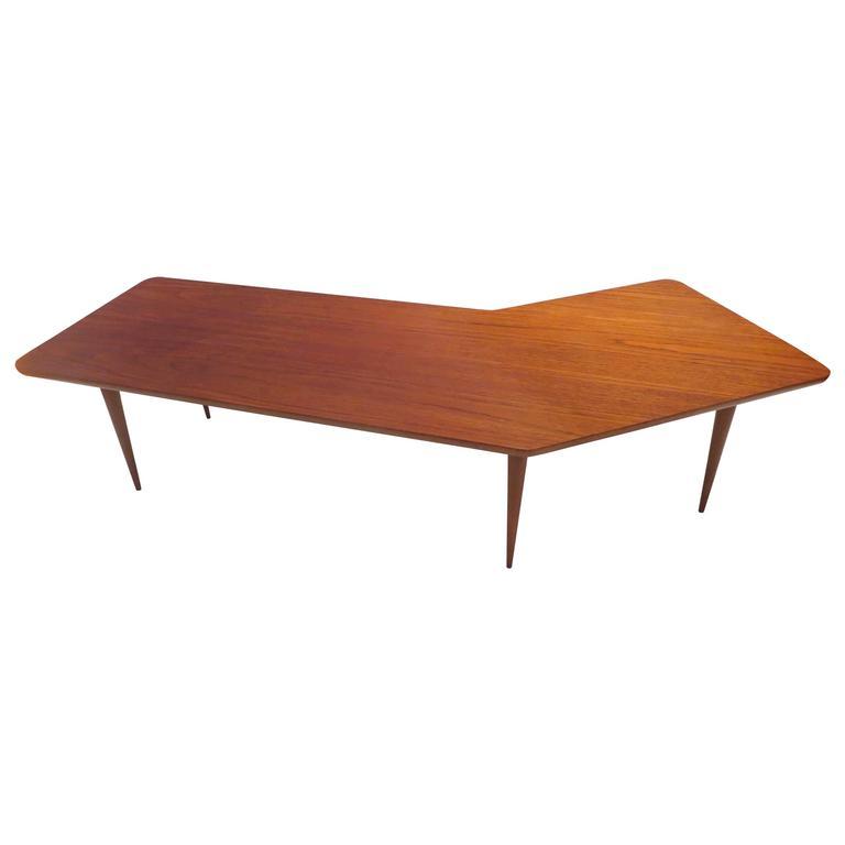 Danish Modern Boomerang Shape Teak Coffee Table By Dux Of