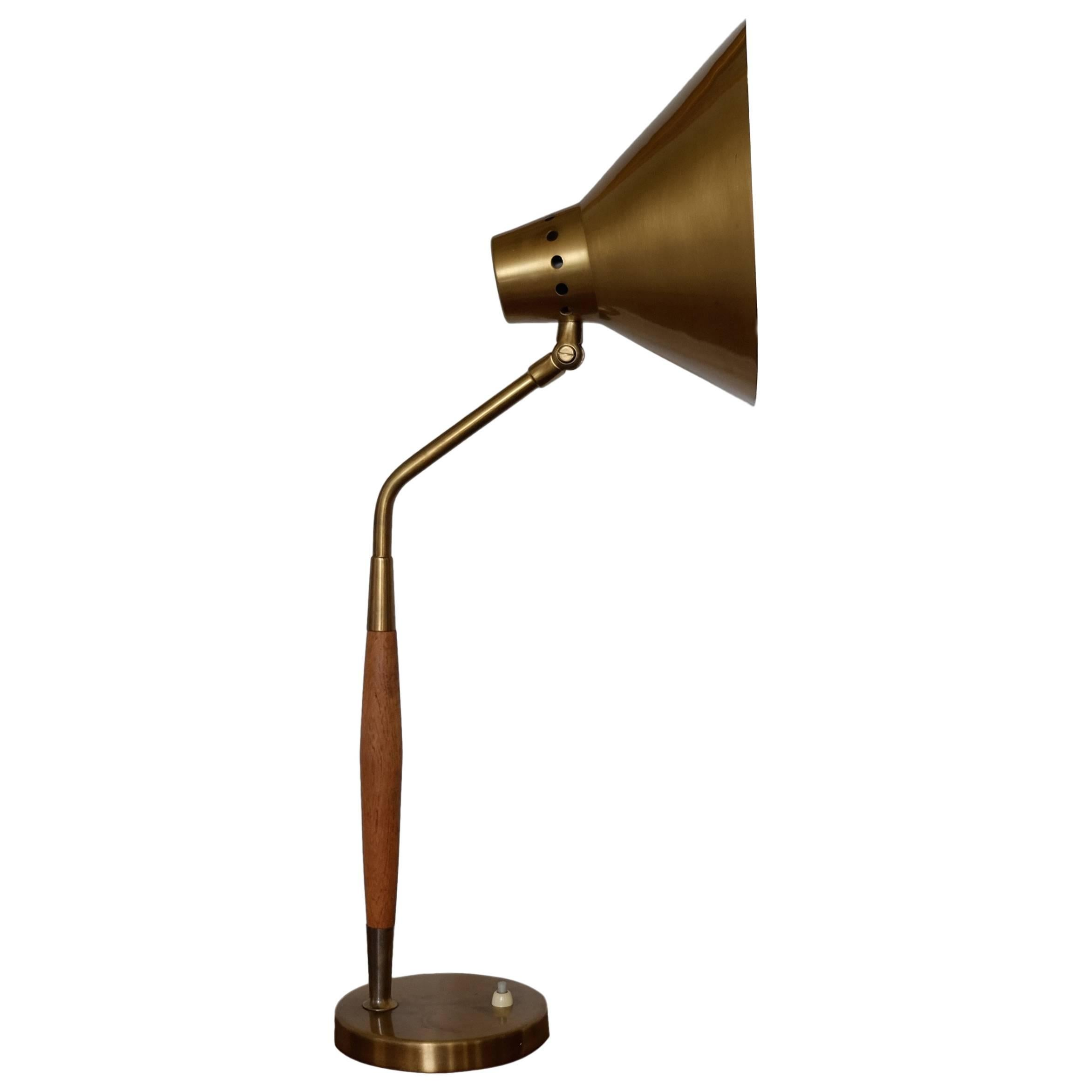 Swedish Table Lamp in Teak and Brass by Boréns, 1950s