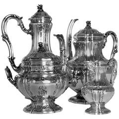Boivin French Sterling Silver Gold 18-Karat Tea Coffee Set of Four-Piece Bacchus