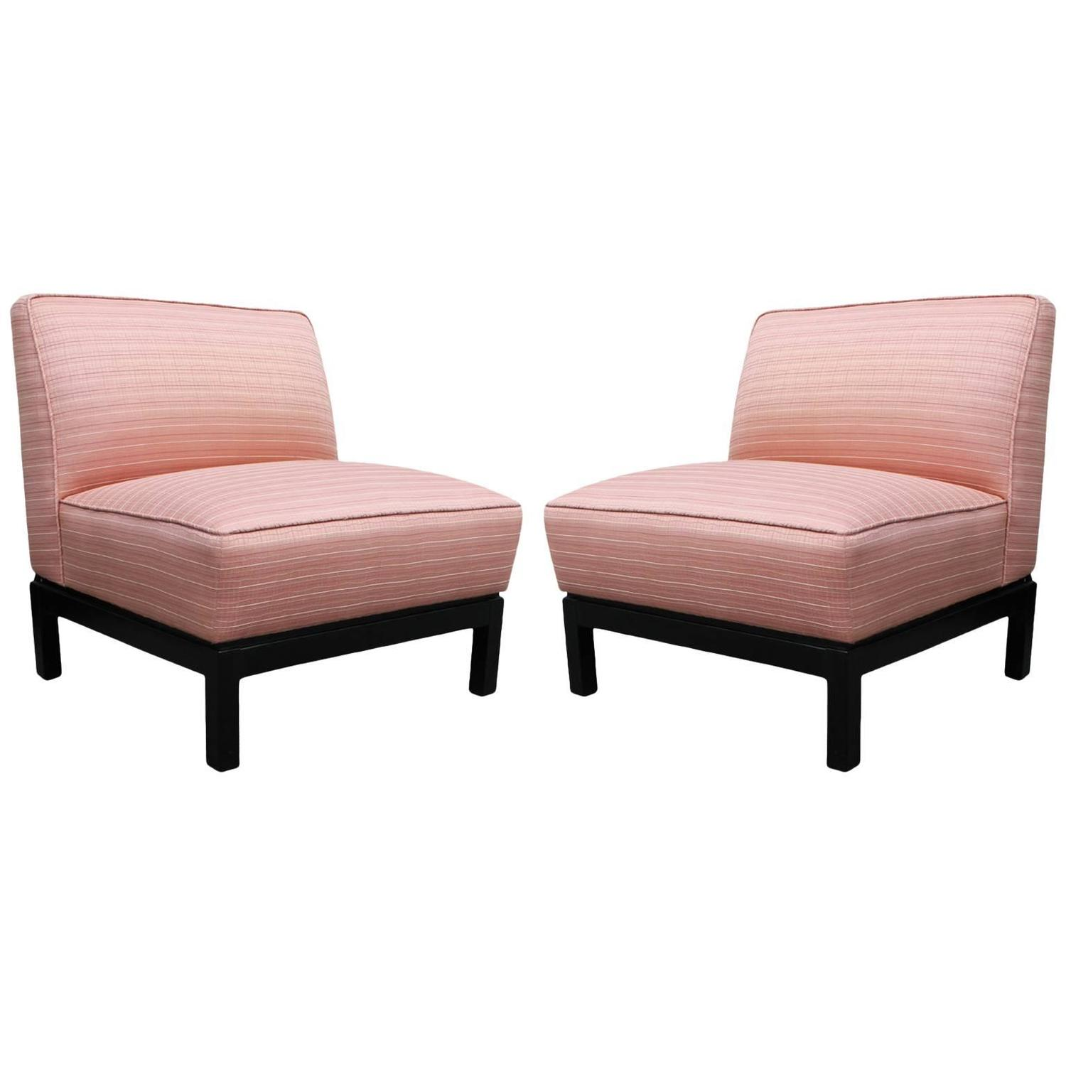 Pair of Clean Lined Modern Slipper Chairs in Light Pink with Deep