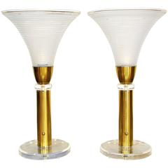 Large Pair of Karl Springer Brass, Lucite and Murano Glass Torchiere Lamps